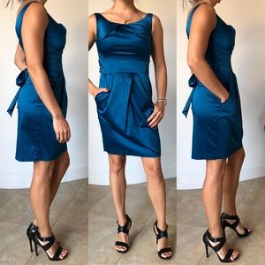 Teeze Me Teal Satin Sheath Formal Dress w Pockets